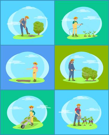 Les agriculteurs travaillent sur un ensemble de vecteurs de ferme et de jardin de bannières de dessins animés. Homme et femme en uniforme creusant un terrain pour les buissons et arrosant les plantes, semant des graines
