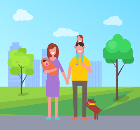 Family parents and children in part of big city with buildings, skyscrapers and trees. Father and mother with newborn kid and pet, dog mammal vector