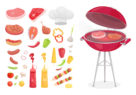 BBQ barbecue set of isolated icons vector. Grille with roasting meat ketchup and mustard, salmon slice. Vegetables and skewer with beef pork and lamb