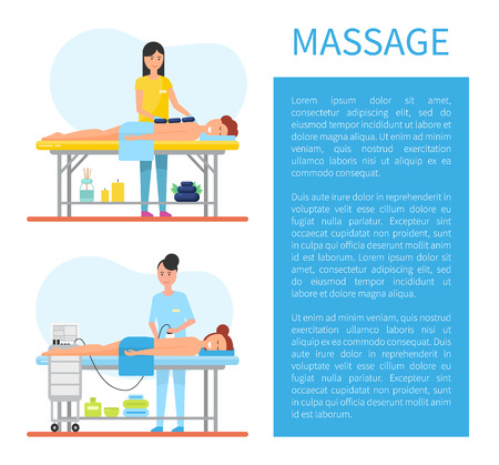 Hot stone massage therapy performed by expert masseuse. Usage of special apparatus, machine for relaxing and smooth skin care, clients on table vector
