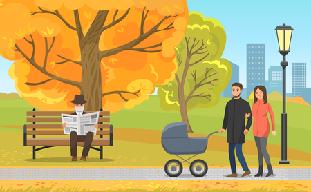 Autumn park, parents walking with pram and elderly man in hat reading newspaper on bench. Fall leaves, streetlight along walkway vector illustration.