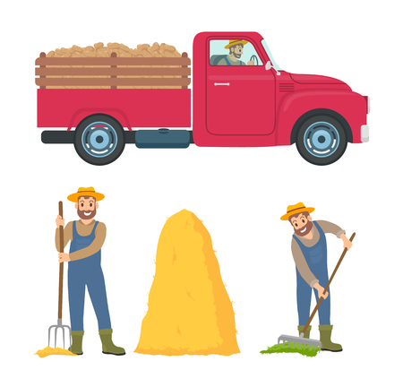 Farming man with rake spreading compost on soil. Farmer with hayfork pitchfork standing by hay bale. Transport with trailer and cargo icons set vector