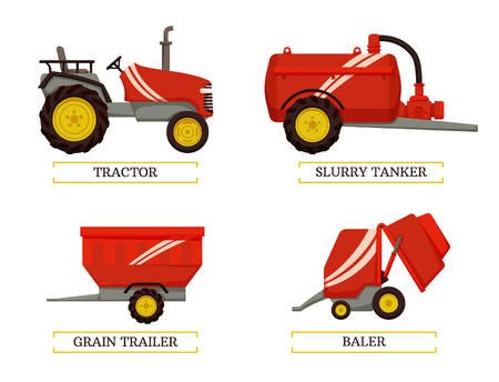 Agricultural machinery set, cartoon vector banner. Small compact tractor and slurry tanker, grain trailer and baler, new technique, equipment isolated