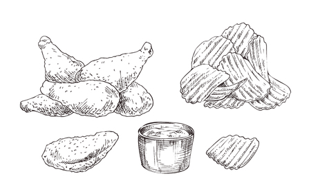 Appetizing chicken nuggets and crispy wavy potato chips with dipping sauce jar sketch style illustration. Monochrome icon set for lunchroom promo vector Illustration