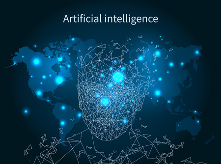 Artificial intelligence map network poster person illuminated vector. Digital brain resembling human mind.Smart clever intellect of robot or cyborg. Archivio Fotografico - 127158029