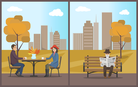 Cafe with customers drinking beverages from small cups set vector. Elderly man reading newspaper in autumn city park. Town with trees and buildings Illustration