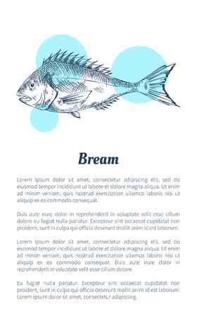 Daurade poisson fruits de mer vector illustration dessinée à la main. Icône décorative d'animal de l'océan isolé sur blanc avec modèle vintage de menu de restaurant de points bleus Vecteurs