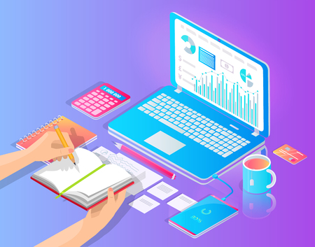 Workplace with laptop and useful stuff on desktop vector banner. Hands writing in notebook, diagram and chart on gadget screen, pencil and calculator