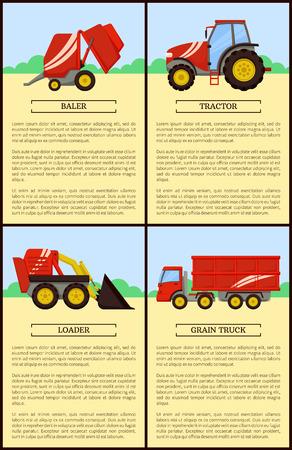 Agricultural Machinery Set, Cartoon Vector Banner Foto de archivo - 113461965