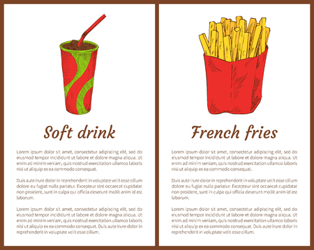 Soft drink and French fries in package. Beverage in plastic cup with straw and fried potatoes sticks. Traditional food posters set vector illustration