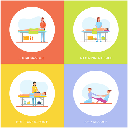 Facial and abdominal massage care icons set vector. Massaging woman and relaxing man with towel on table. Clients and patients body parts treatment
