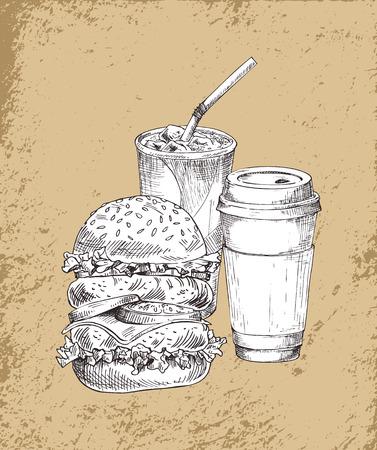 Refreshing Drinks and Big Burger Illustration