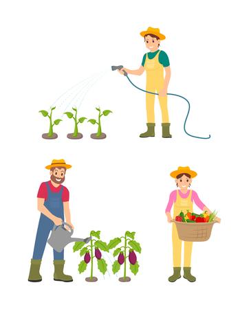 Farmer People Watering Plants Vector Illustration