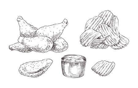 Chicken Nuggets and Chips Sketch Style Icon Set 스톡 콘텐츠