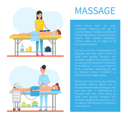 Hot Stone Massage Therapy and Apparatus Vector Zdjęcie Seryjne