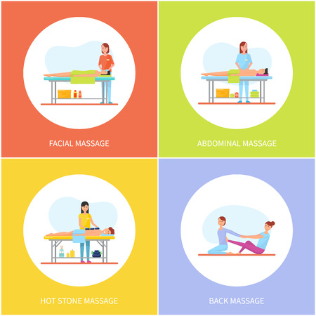 Facial and Abdominal Massage Care Icons Set Vector Imagens