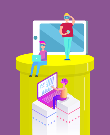 Virtual reality cartoon banner people in glasses playing video games vector set. Boys sitting in goggles having fun in front of screen and laptop