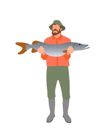 Fisher with huge catch isolated on white poster, bearded man in special boots and trousers for fishing holding big pike, male hobby abstract banner