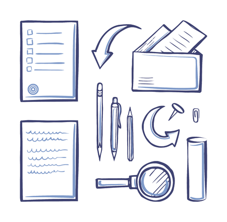 Office papers monochrome sketches outline icons set vector. Pencil and pen, magnifying glass and pages, documents in envelopes, messages and letters Illusztráció