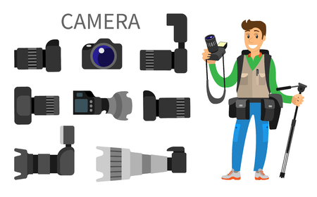 Cameras with lens, photographer and high resolution action photocameras vector isolated. Gear with flash and zoom function, photojournalist and tripod Çizim