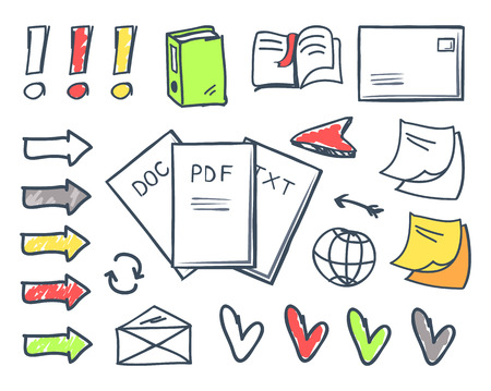 Office papers pdf and doc txt files isolated icons set vector. Book and bookmark, exclamation marks and hearts, globe and memo stickers with notes