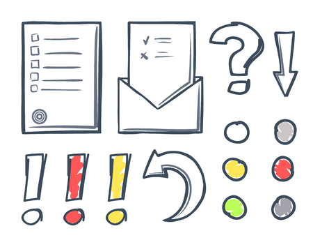 Office paper and dots with marks isolated icons set vector. Exclamation and question, pointers and indicators. Arrows and arrowheads line sketches