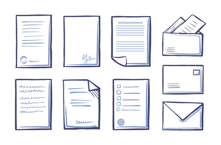Office documents and papers monochrome sketches outline isolated icons set vector. Postal message signs and pages with stamps and signatures of people Çizim