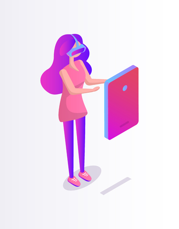Girl in glasses virtual reality vector cartoon banner. Teenager playing digital game on screen wearing goggles with headpiece, 3d isometric style