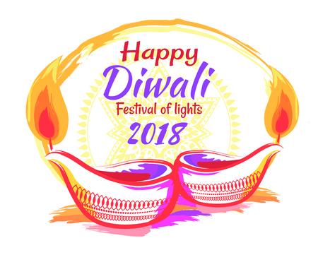 Happy Diwali Festival 2018 on Vector Illustration