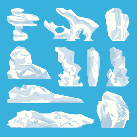 Ice iceberg hard frozen water isolated icons set vector. Natural element in polar, glacier made with crystal snow and cool temperatures of ocean sea Illustration