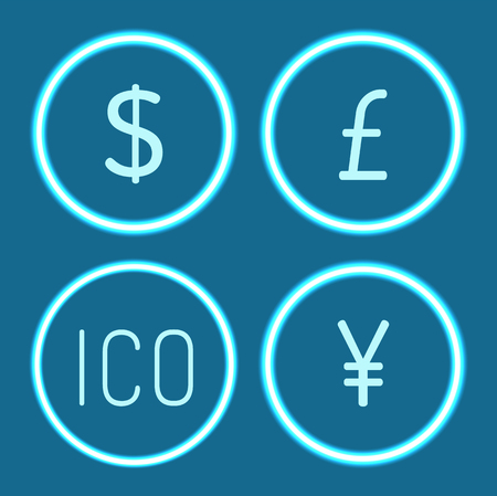 Bitcoin and Chinese yen, American dollar isolated set vector. Ico and British pound sterling, banking and financing, investment in various currency