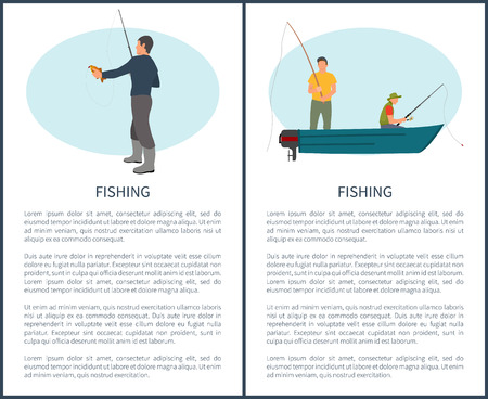 Fishering Hobby and Recreation Vector Brochure