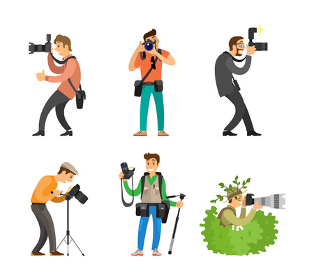 Photographers or photojournalists with cameras on tripod taking shots. Photo reporter in bush, setting focus, carrying backpack vector illustration.