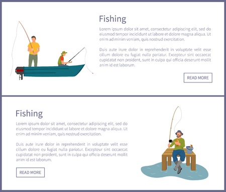 Fishing people in wooden boat floating on river catching limbless animals. Man with rod sitting on dock pier of wood by lake, vector illustration