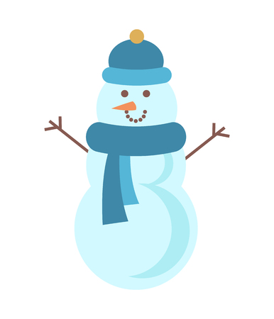 Handsome snowman in blue hat and lovely scarf, smiling winter symbol with pretty orange carrot isolated flat vector illustration on white background.