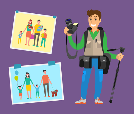 Example of cameraman content, family pictures of parents and children vector. Cute photographer with professional equipment camera gears and tripod Reklamní fotografie - 127116003