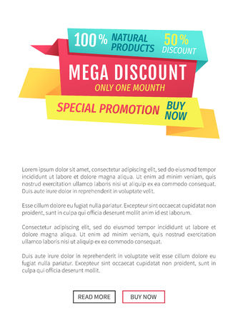Exclusive natural products guarantee reassurance. Mega discount and special promotion poster with editable text. Only one month super deal vector