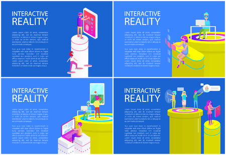 Virtual reality posters set with text vector. Man and woman screens and displays, touching it and interacting with cyberspace. Table tennis game play