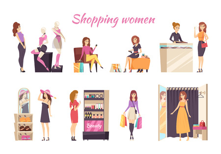 Shopping Women Poster with Ladies at Store Vector Standard-Bild - 113462047