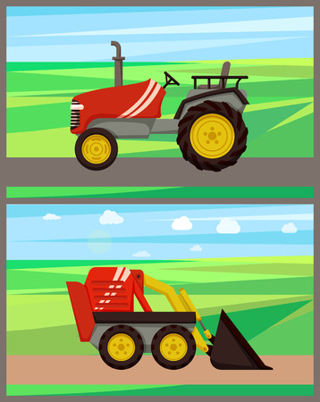 Loader and tractor on field vector. Transportation and soil cultivation, farming activities and machinery for improving lands fertility . Machines set
