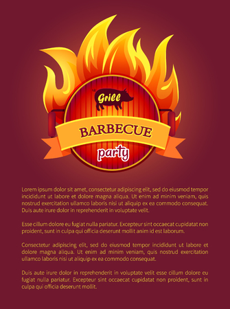 Grill Barbeque Party Poster Burning Fire, Grate Standard-Bild - 113462048