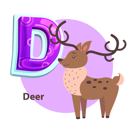 Deer silvan animal with big curved horns for D letter presentation. Zoo ABC flashcard sample with cartoon character for english alphabet remembering. Illustration