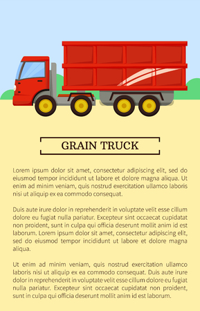 Agricultural machinery icon, cartoon vector banner. Big red grain truck with metallic trailer, isolated new equipment and farming technique poster Illustration