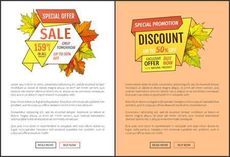 Fifty percent discount special offer sale only tomorrow. Promo price 159.90 advertisement autumn posters with orange and yellow leaves, text sample