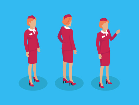 Fly attendant stewardess set of icons constructor. Air hostess in red uniform. Lady with badge on jacket welcoming and gesturing isolated on vector