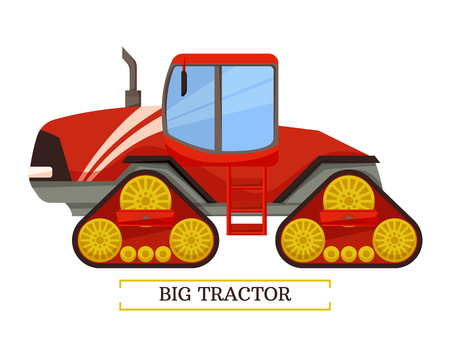 Big tractor machinery isolated icon vector. Machine for farming and agriculture with pipe, ladder and wheels. Transportation and mechanization of work