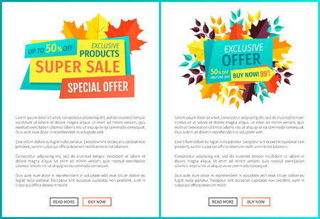 Super sale exclusive deal offer autumnal proposal. Posters set with banners and leaves. Merchandise trade of natural products on reduced price vector