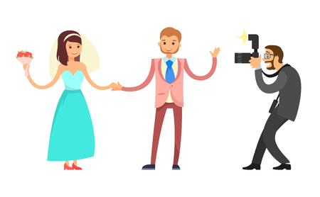 Happy couple on wedding, bride and groom and professional photographer vector isolated. Woman in engagement blue dress and man in red color suit with tie 向量圖像