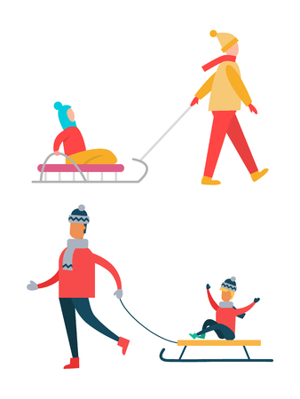 Father carrying child on sleigh, mother walks with daughter on sledge, family spending time together during winter holidays, vector illustration