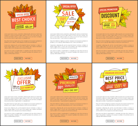 Special exclusive offer buy now posters set with oak leaves. Vector autumn sale banner, yellow foliage. Best choice promo discounts on Thanksgiving day Stock Vector - 127116035